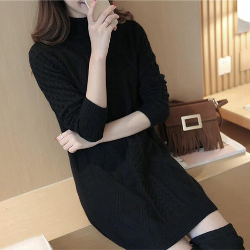 Sweater Women's Winter Half high Collar Slim Sweaters Long Large Size Femal Cashmere Bottoming Sweaters Lady Sweet