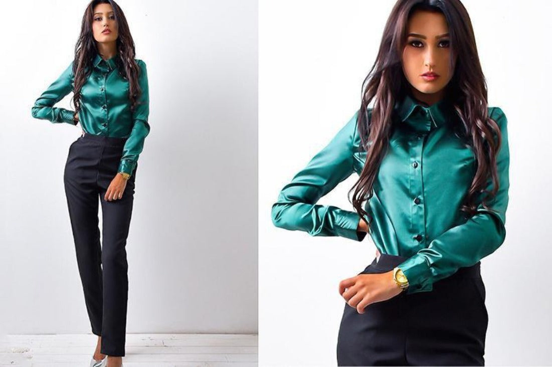 New Women Office work shirts female elegant high quality silk satin long sleeve button lapel Party blouse Tops-Blouse-SheSimplyShops
