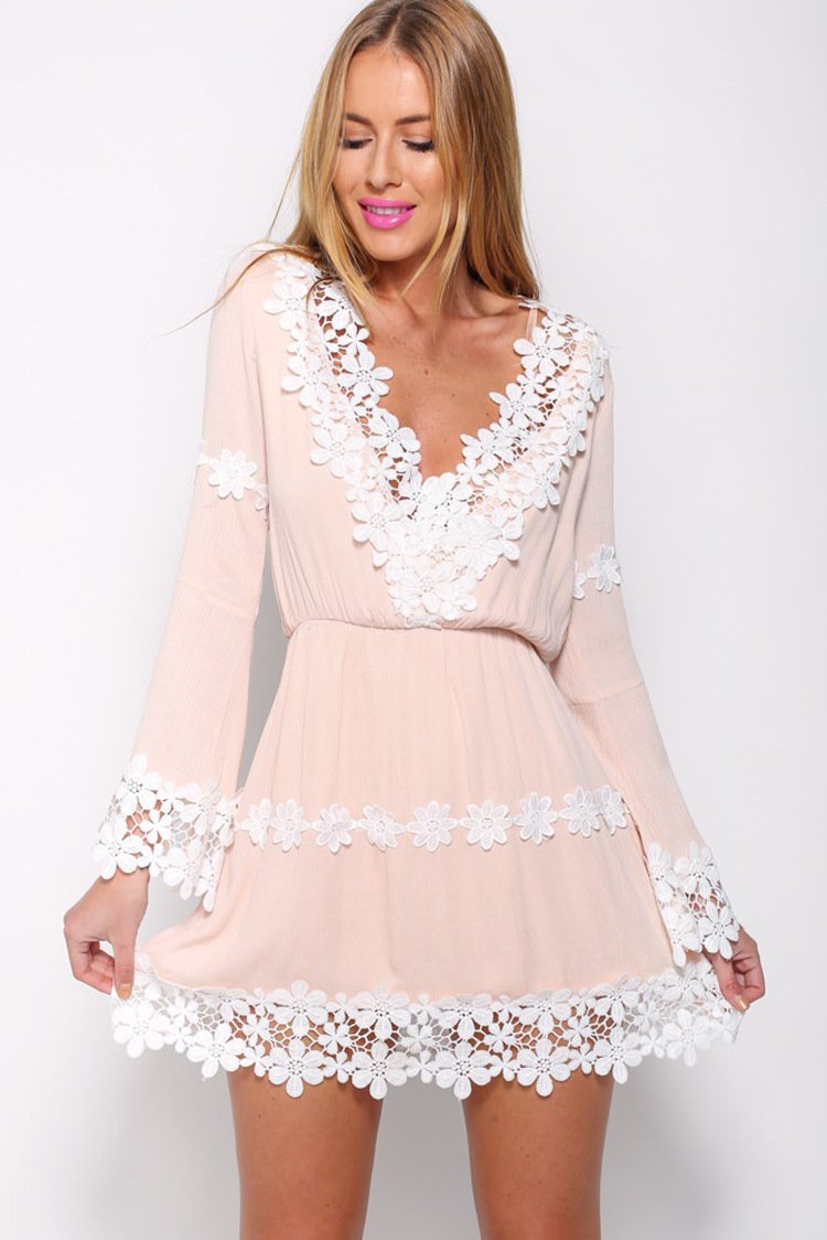 Pink Vintage Lace Chiffon Stitching Women Dress Autumn Christmas Dress Long Sleeve Mini A-Line Party Dresses-Dress-SheSimplyShops