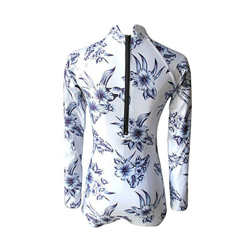 Retro Swimsuit One Piece Swimsuit Long Sleeve Swimwear Women Bathing Suit Print Floral One-piece Swimsuits Wear-SWIMWEAR-SheSimplyShops