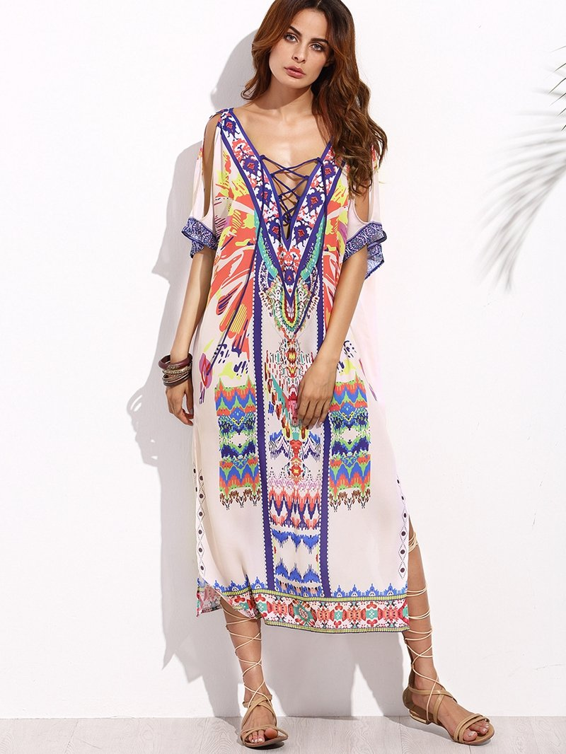 Sexy Bandage Beach Bikinis Cover up Print Swimwear Ladies Beach Long Dress Tunic Women Kaftan-Dress-SheSimplyShops