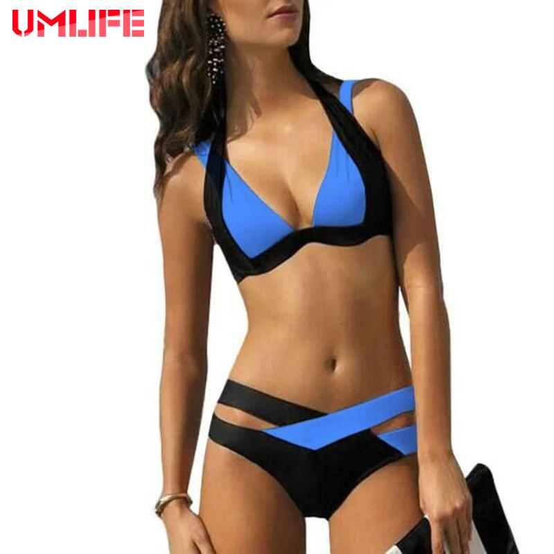 Sexy Bikini Set Women Swimsuits Swim Push Up Swimwear Women Cross Double Halter Swim Bathing Suit-SheSimplyShops