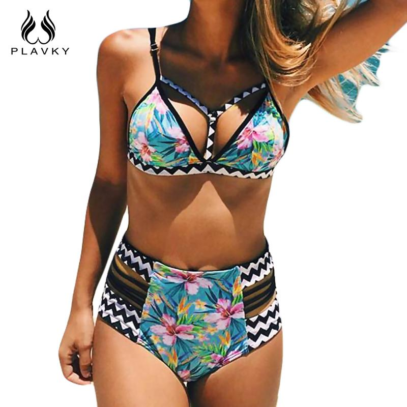 Floral Stripe Swimsuit Bandage Beach Wear Swim Bathing Suit Swimwear Women High Waist Push Up Bikini-SWIMWEAR-SheSimplyShops