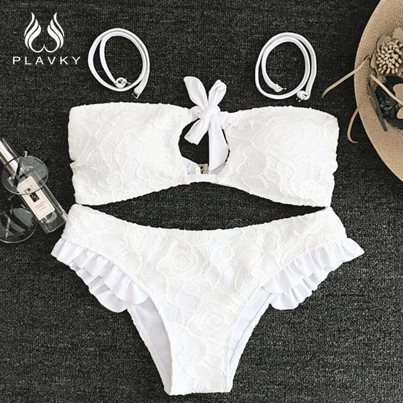 White Lace Bandeau Front Knotted Cut Out Ruffled Swim Bathing Suit Swimsuit Swimwear Women Bikini-SWIMWEAR-SheSimplyShops
