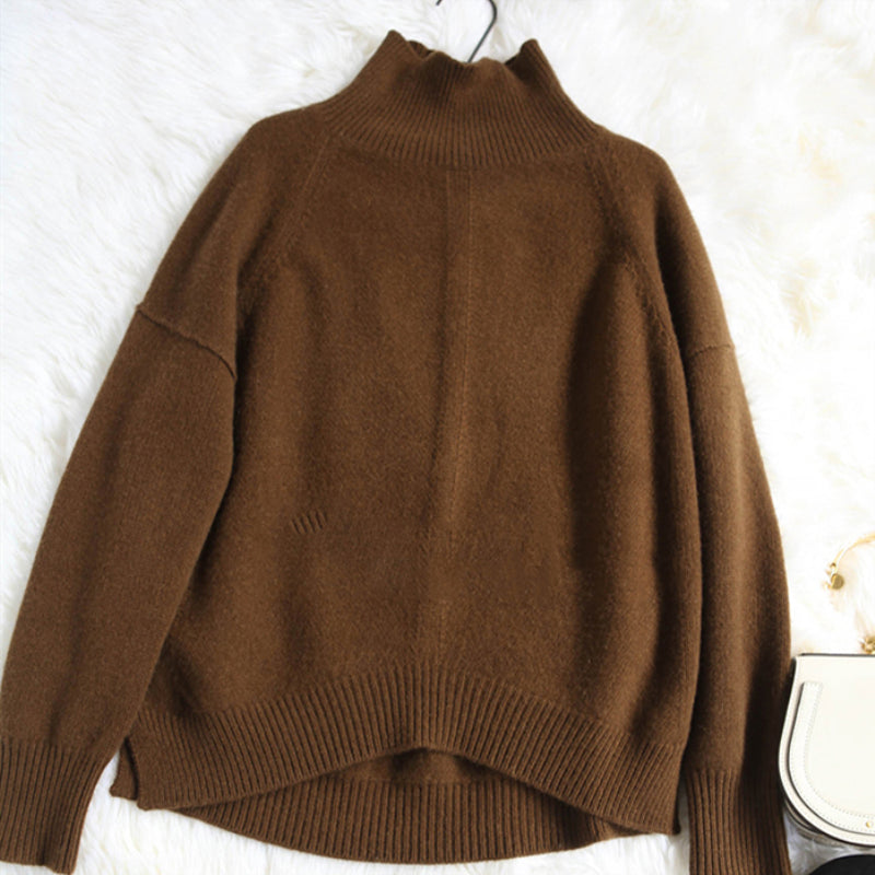 Spring Autumn Women Cashmere Wool Sweaters Pullovers Turtleneck Casual Pullovers Solid Color Female Knitted Jumpers