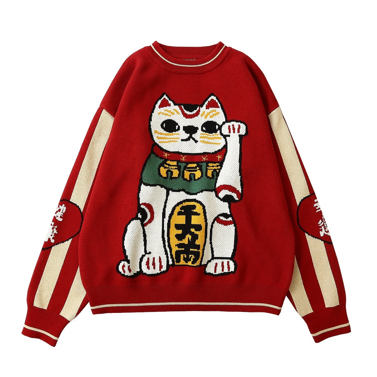 Spring Chinese Thickened Red Pullover Sweater Lucky Cat Cotton Knitwear Top Casual High Quality Warm Winter