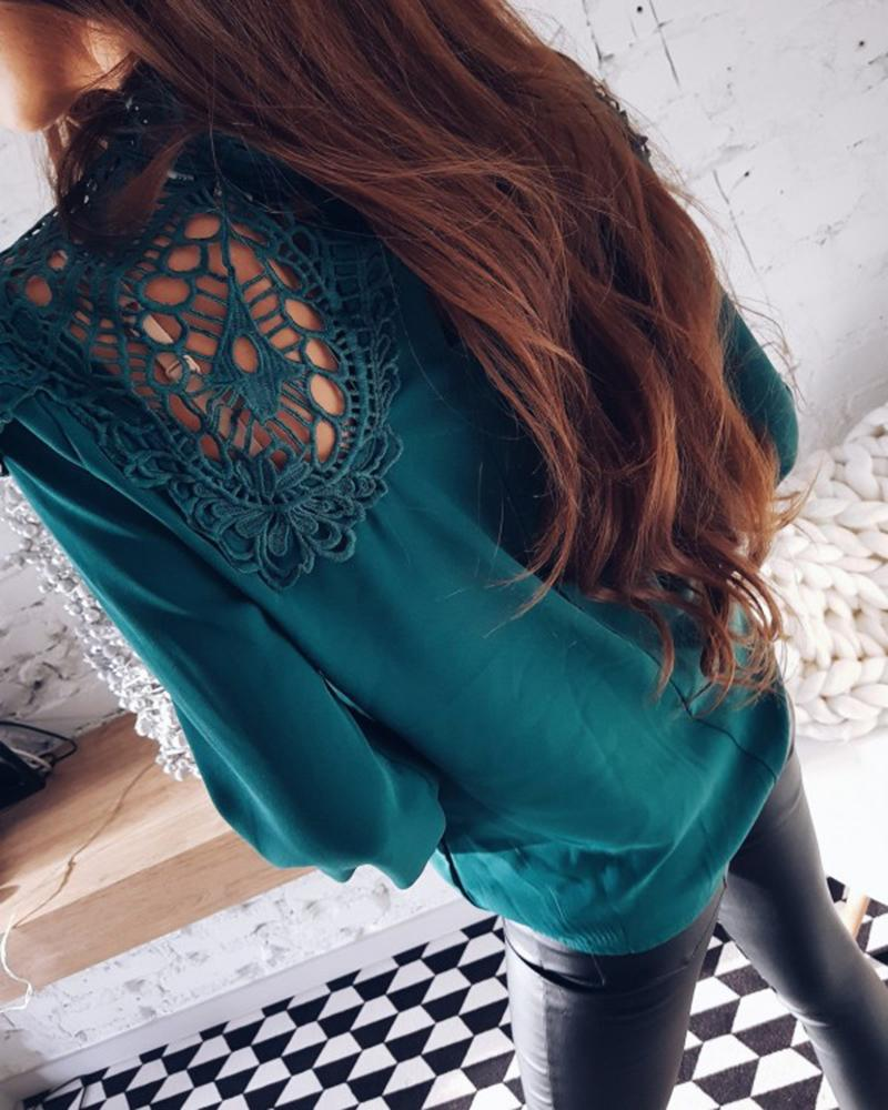 Spring Summer New Fashion Women Casual Blouse Lace Long Sleeve Tops Female Elegant Turtleneck Ladies Chiffon Shirts-Blouse-SheSimplyShops