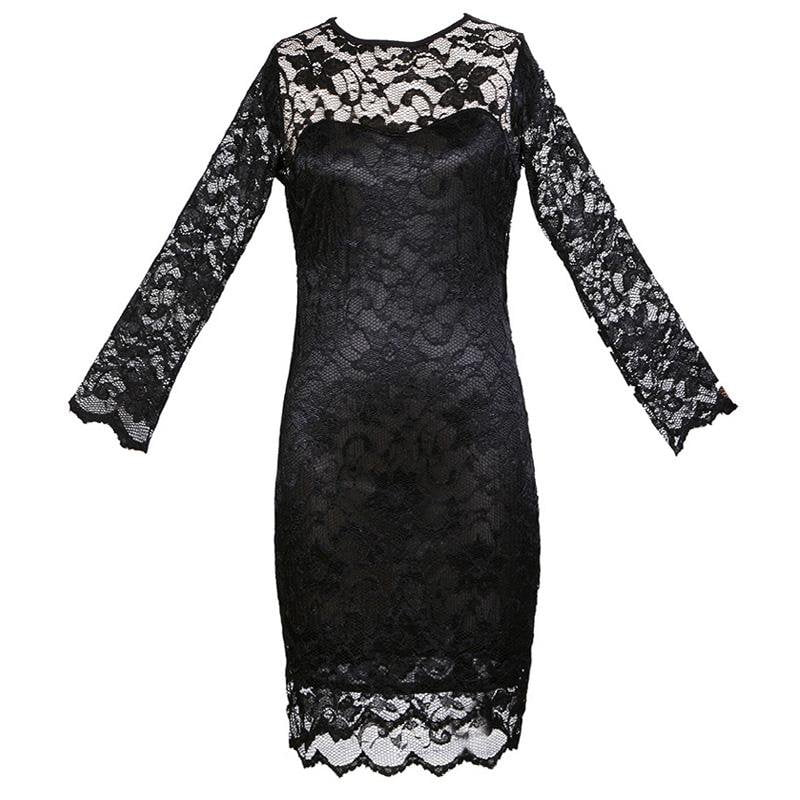Summer Bodycon Dress Women Lace Dress OL Floral Prom Gowns O-Neck Sexy Slim Elegant Lady Evening Mini Party Dresses female-Dress-SheSimplyShops