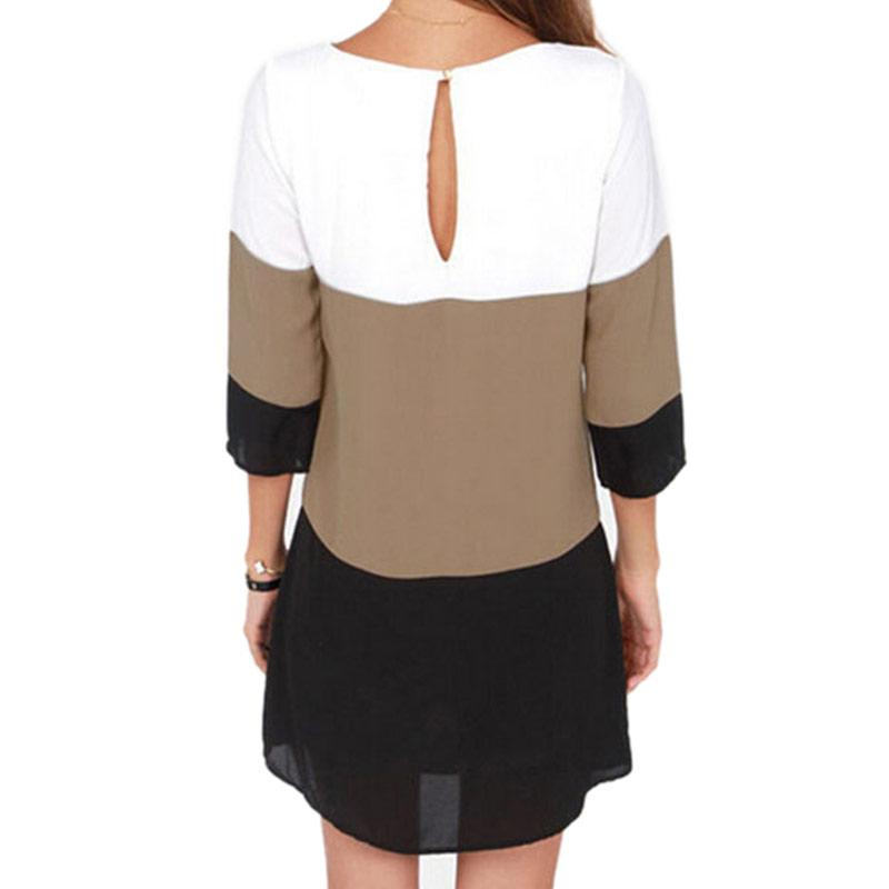 Summer Dress Women Tunic Contrast Color Blocks Chiffon Half Sleeves Shirt-Dress-SheSimplyShops