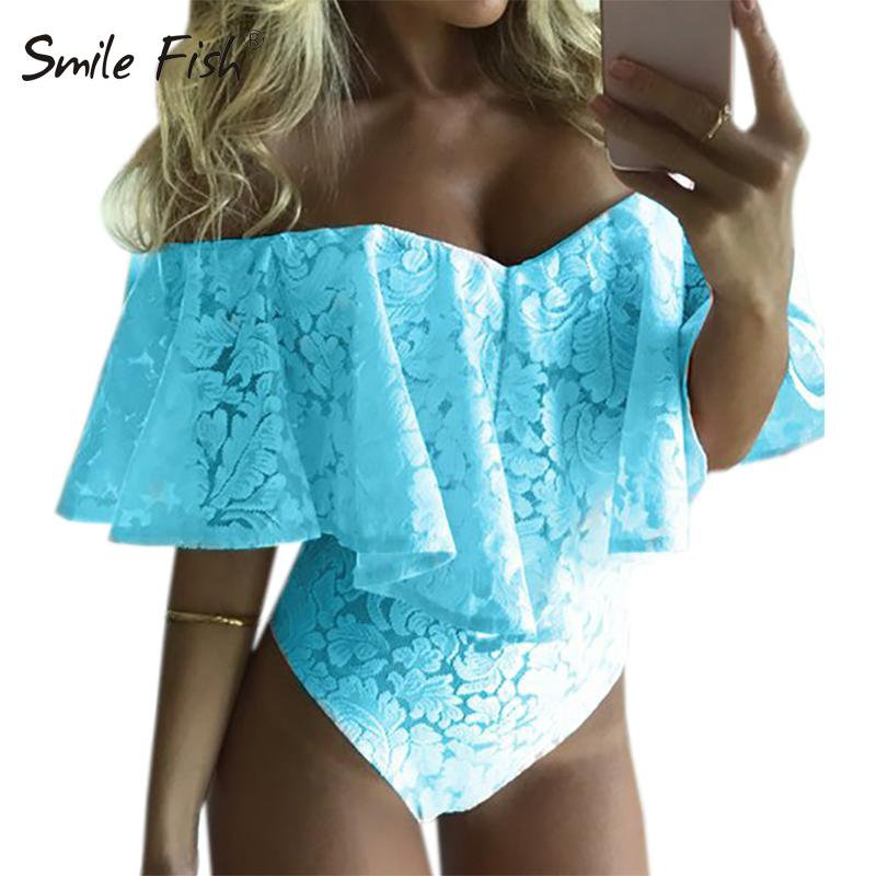 Summer Ruffles Lace Slim Casual Off Shoulder Bodysuit Women Sexy Bodysuits Solid Slash Neck All-match Beach Overalls-ROMPERS & JUMPSUITS-SheSimplyShops