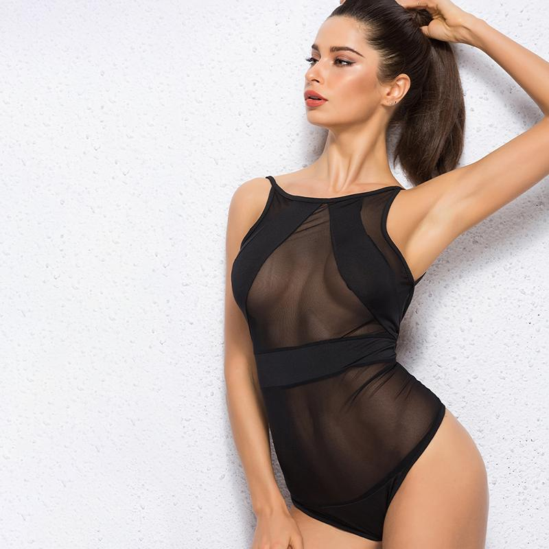 Summer Sexy Bodysuits Women Black Mesh Sheer One Piece Transparent Bodysuit Beachwear Jumpsuit Overalls-ROMPERS & JUMPSUITS-SheSimplyShops