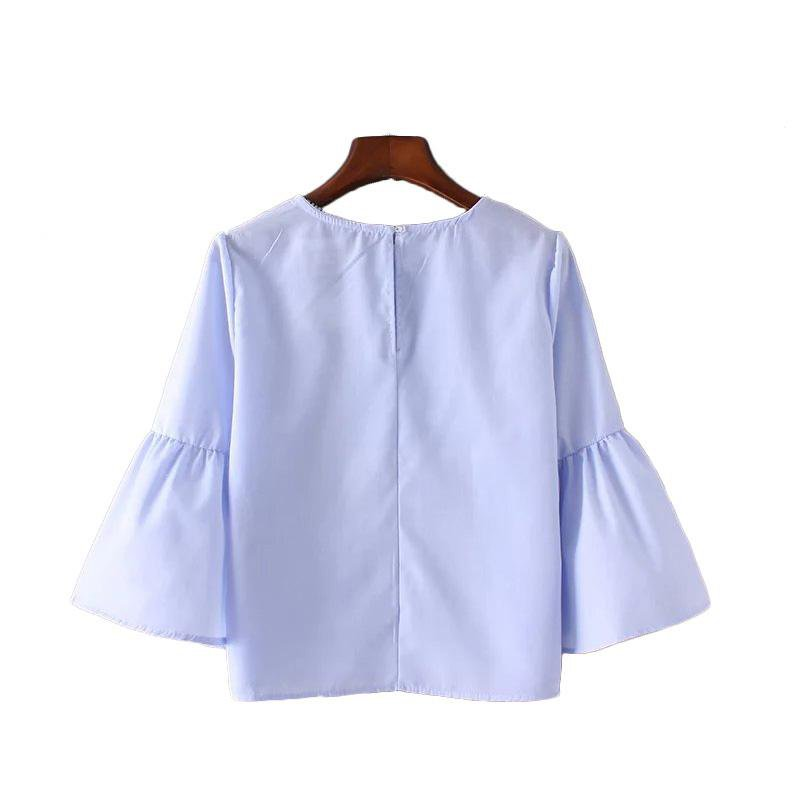 Summer Women New Loose casual Shirt Blouse Elegant pearls O-neck 3/4 flare sleeve tops-Blouse-SheSimplyShops