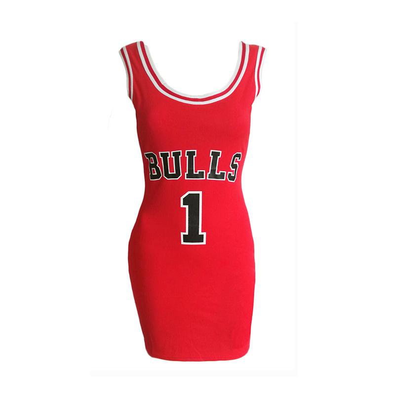 Summer Bulls Sporting Dress Women Cut Jersey Above Knee Length O-Neck Tunic Dresses Style-Dress-SheSimplyShops