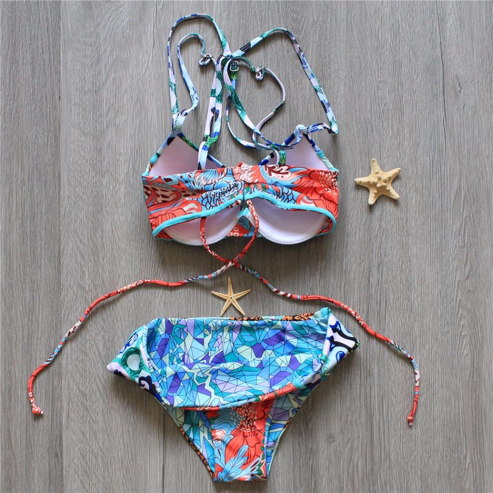 Vintage Sexy Underwire Bikini Swimsuit Women Halter Push Up Swimwear Bikinis Bandeau Floral Bathing Suit Beach-BAGS-SheSimplyShops
