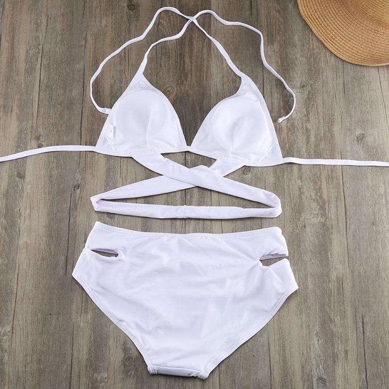 White Push Up Bikini Low Waist Cross Swimsuit Women Swimwear female Bandage Bikinis Girls Bathing Suit Beachwear-BAGS-SheSimplyShops