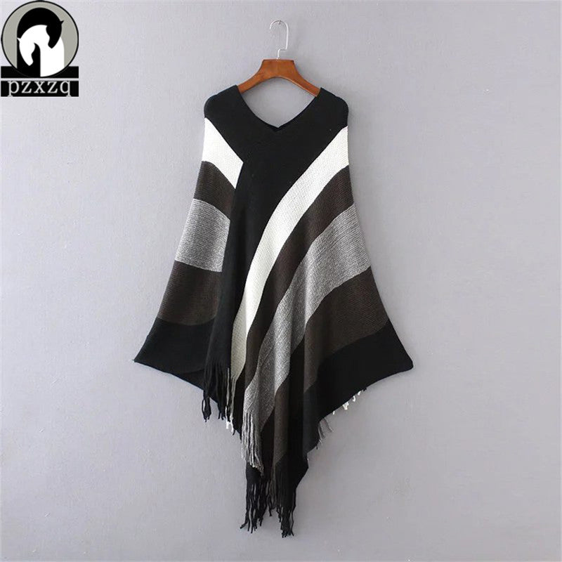 Winter spring Women Sweaters Poncho Knitting Capes Cloak Women Sweater V Neck Irregular Tassels Coat Pullovers Knitted