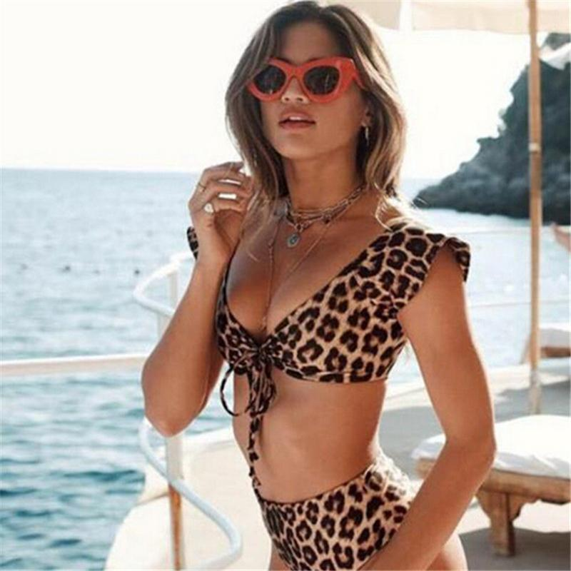 Women High Waist Bikini Set Leopard Print Push Up Swimwear Lady V Neck Swimsuit Bathing Suit Swimwear-SWIMWEAR-SheSimplyShops