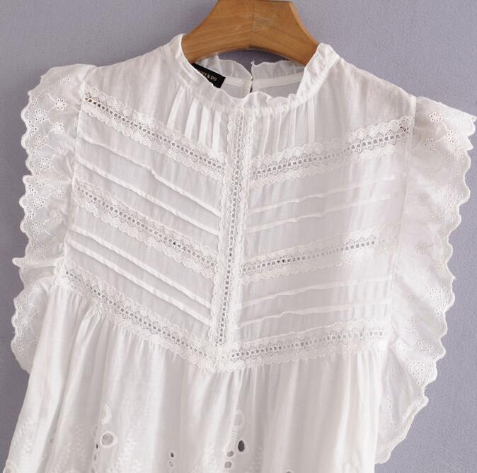 Women Summer Sleeveless White Blouse Lace Hollow Out Loose Blouse Tops-Blouse-SheSimplyShops