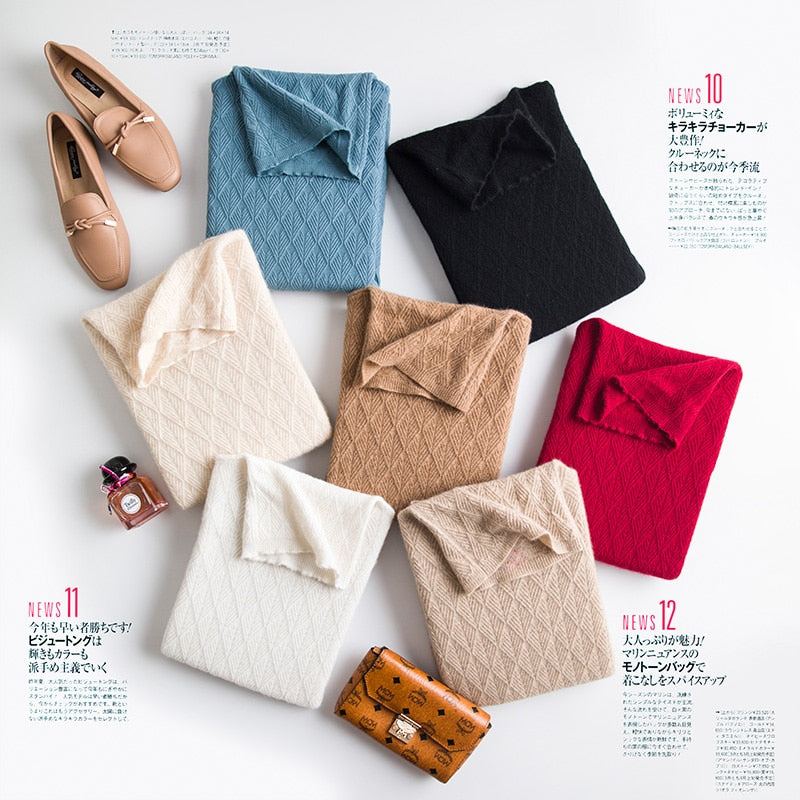 Women Turtleneck Wool Sweaters Autumn Winter Women Warm Wool Geometric Knitted Sweaters Casual Pullovers Female