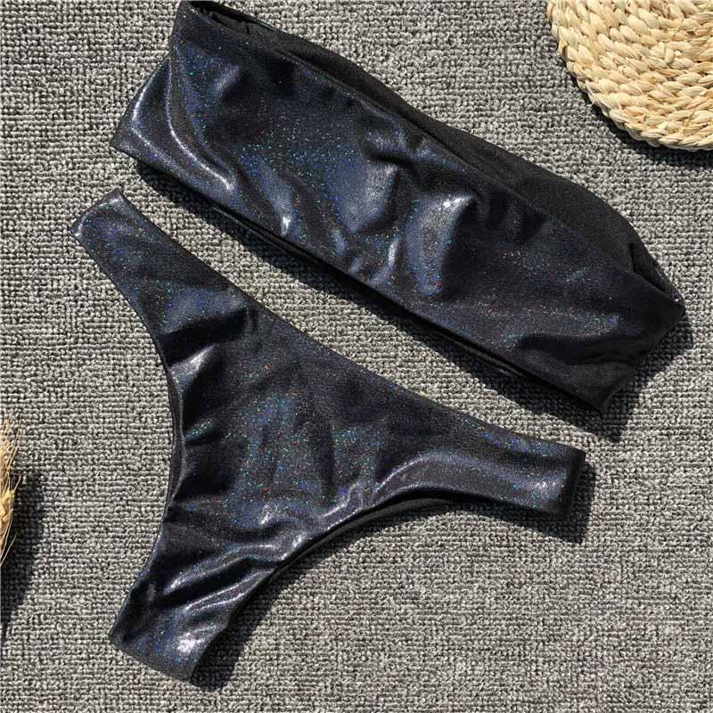 Black cortex bikini set gleamed swimsuit women bathing suit strapless bikinis-SWIMWEAR-SheSimplyShops