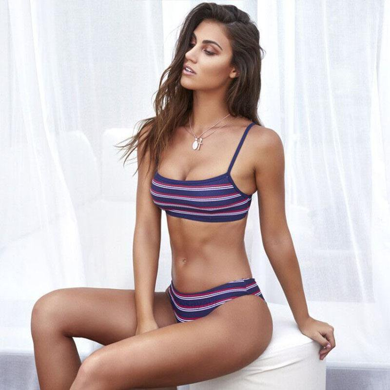 Women bikini set stripe swimwear summer bikini bathing suit push up beachwear-SWIMWEAR-SheSimplyShops
