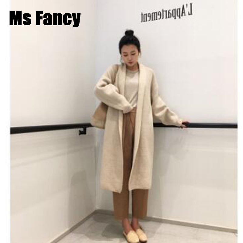 Autumn Apricot Knitted Cardigan Lazy oaf Lapel Wool Cardigan Long Loose Sweater Coat