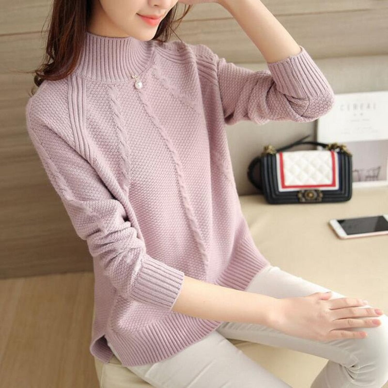 Women Sweaters and Pullovers Sueter Mujer Ruffled Sleeve Turtleneck Solid Slim Elastic Women Tops NS8926