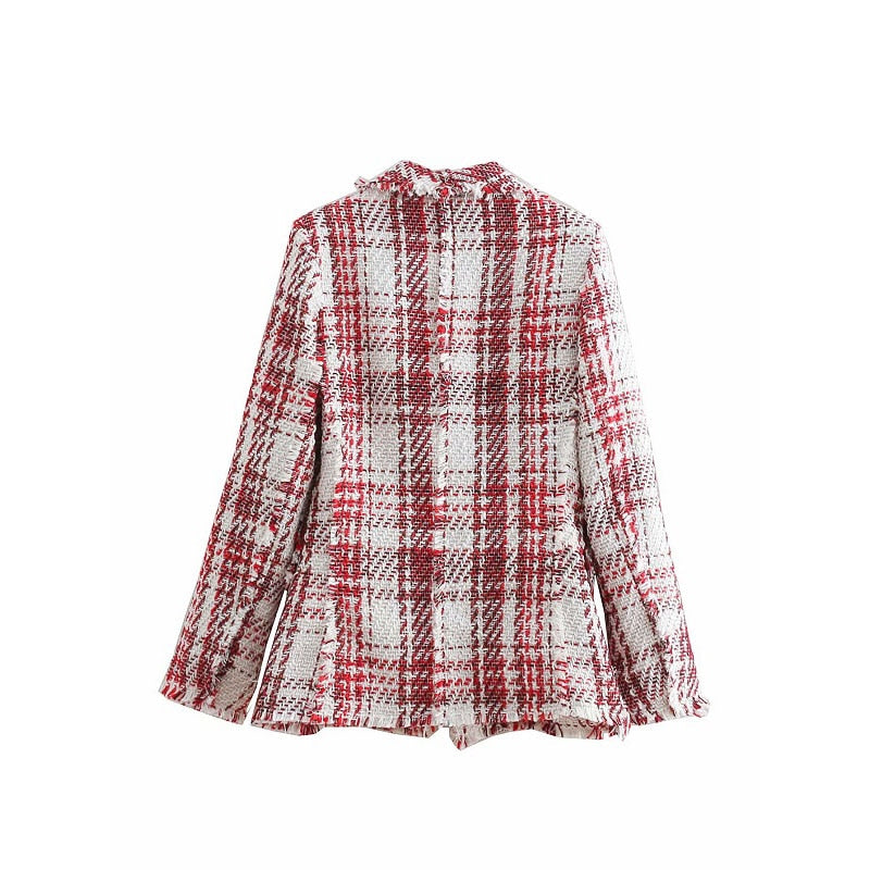 Za Vintage Chic Jewelry button Tweed Jacket Elegant Women Plaid Coats Pockets Lapel Collar Casual Casaco Femme