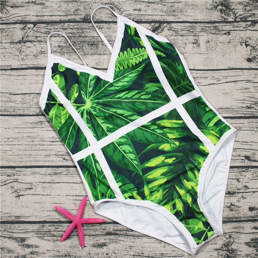 Green Leaf One Piece Swimsuit Women Moniquinis Summer Beach Swimwear SEXY Swimming Push up Beachwear Body Suit Plus Size XL