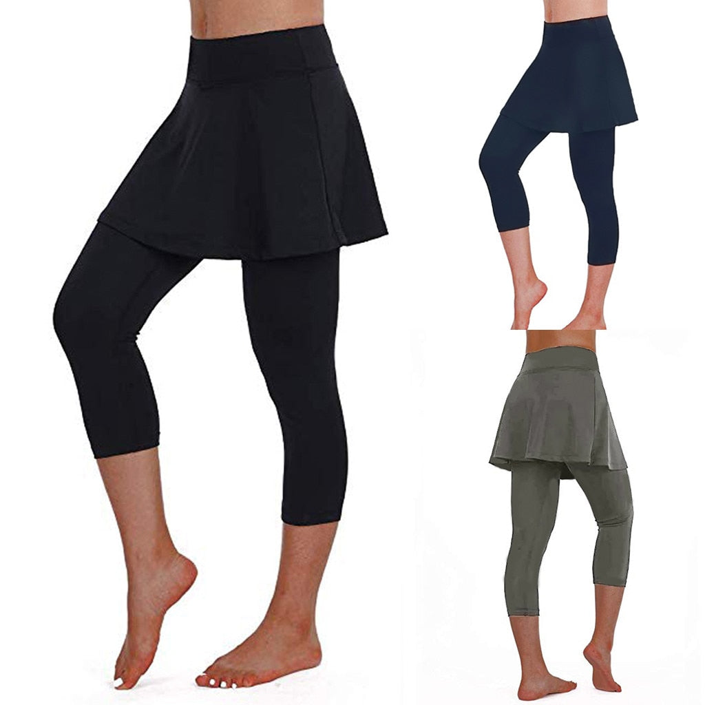 Women's High Stretch Fitness Leggings Yoga Pants Sports Ladies Sports Skirt Pants Casual Cropped Trousers