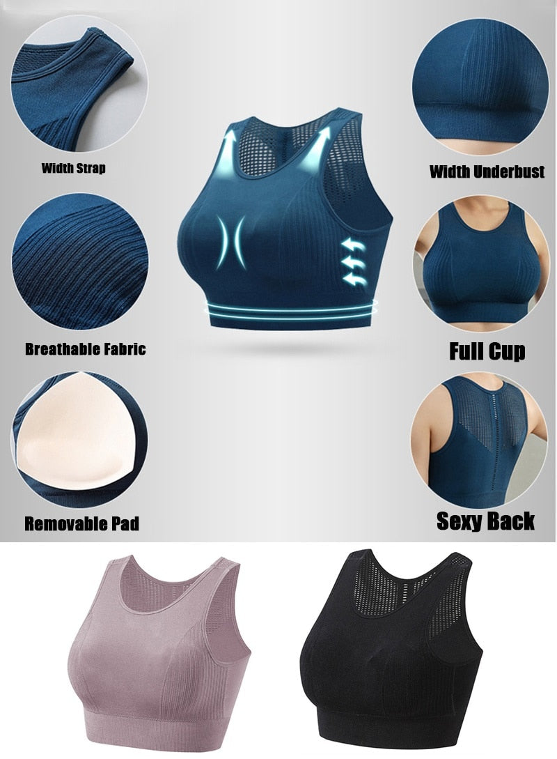 Solid Sports Bra Women Crop Tank Top for Fitness Push up Gym Shockproof Shirt Running Workout Fast Dry Seamless Vest