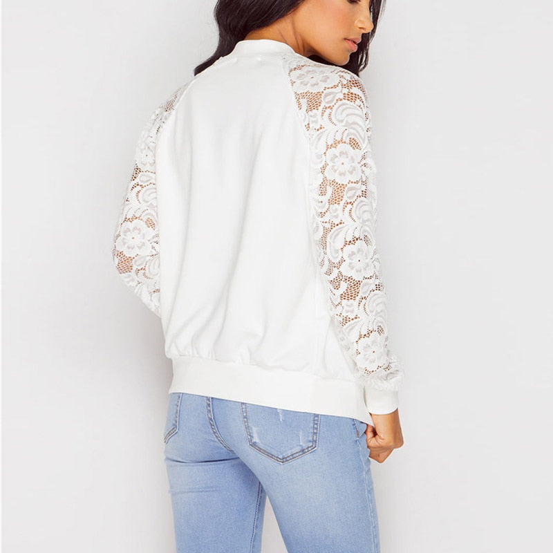 Spring Sweater Korean style Lace female cardigan The fashion short woman with a small shawl embroidered cardigan Coat