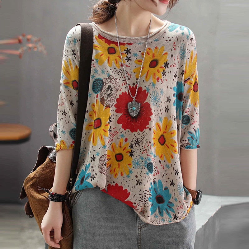 spring Retro Flower Printing Thin Bottoming Shirts Elastic Knitting Patchwork Loose Plus size sweaters for woman A0B30