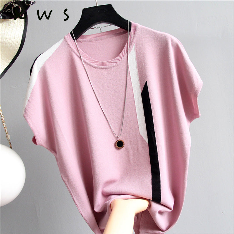 summer female sweater Pure knit sweater and pullover Round neck cashmere sweater Short sleeved striped sweater