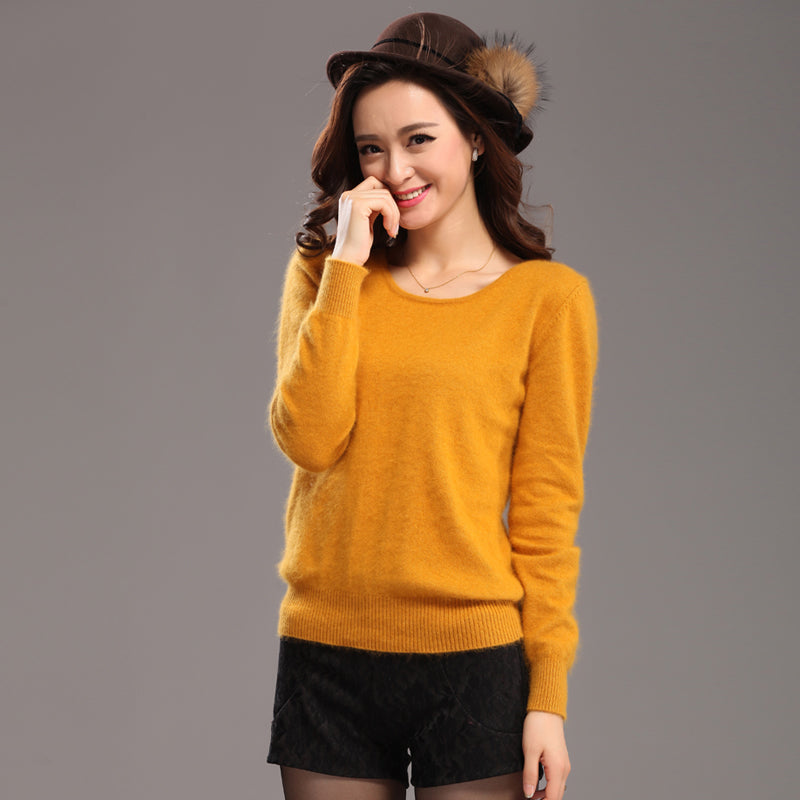 winter warm sweater women soft comfortable mink cashmere sweaters o neck Slim bottoming knitted thick pullover