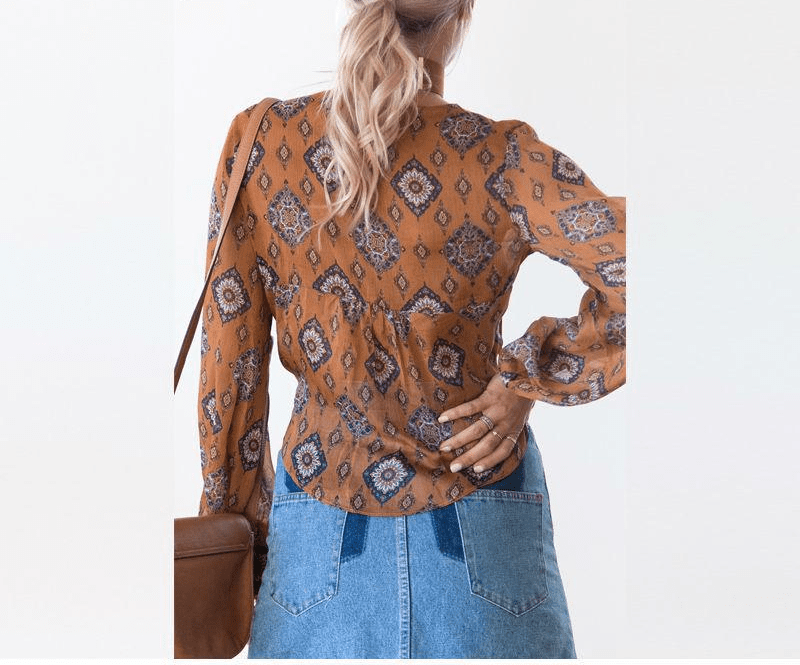 Summer Kimono Wrap Women Blouses Floral Print Beach Cover Shirt Bow Tie V Neck Long Sleeve Crop Tops-SheSimplyShops