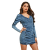 GOPLUS 2019 Denim Dress Women Sexy V neck Women's Dress Puff Sleeve Mini Dresses Summer Slim Bodycon Dresses Clothing For Women