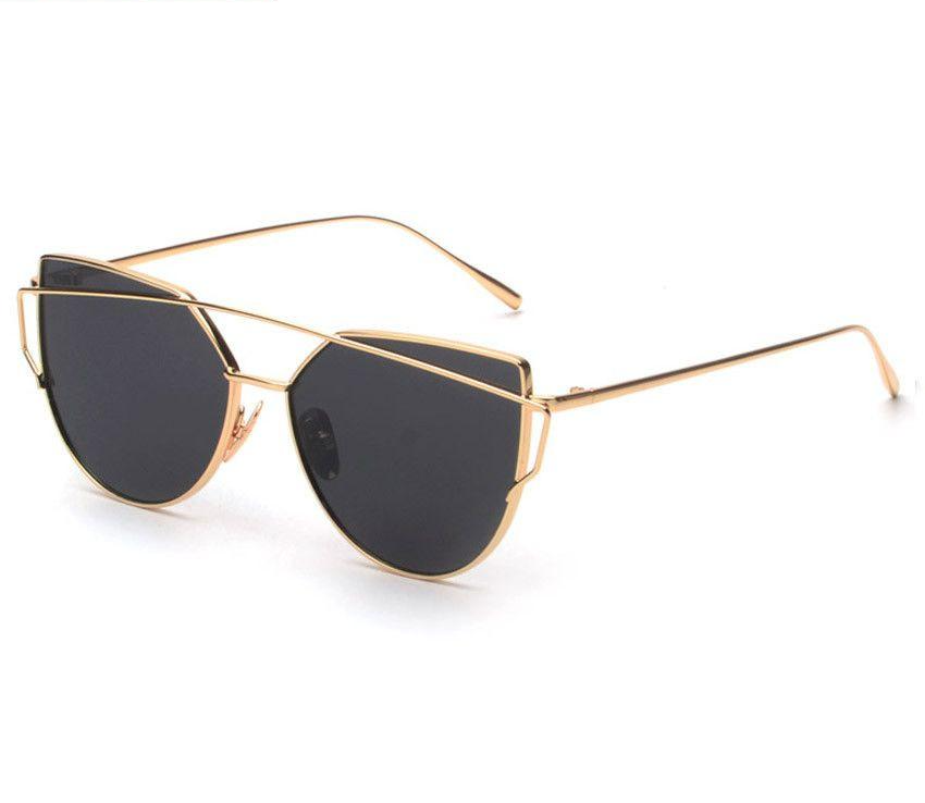 Women's sunglasses metal wrap cat-eye sunglasses mirror