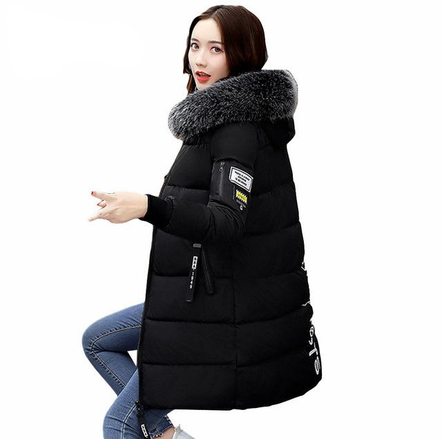 Long Parkas For Women Winter Slim Wadded Coats Fur Hooded Quilted Jackets Solid Color Zipper Outwear