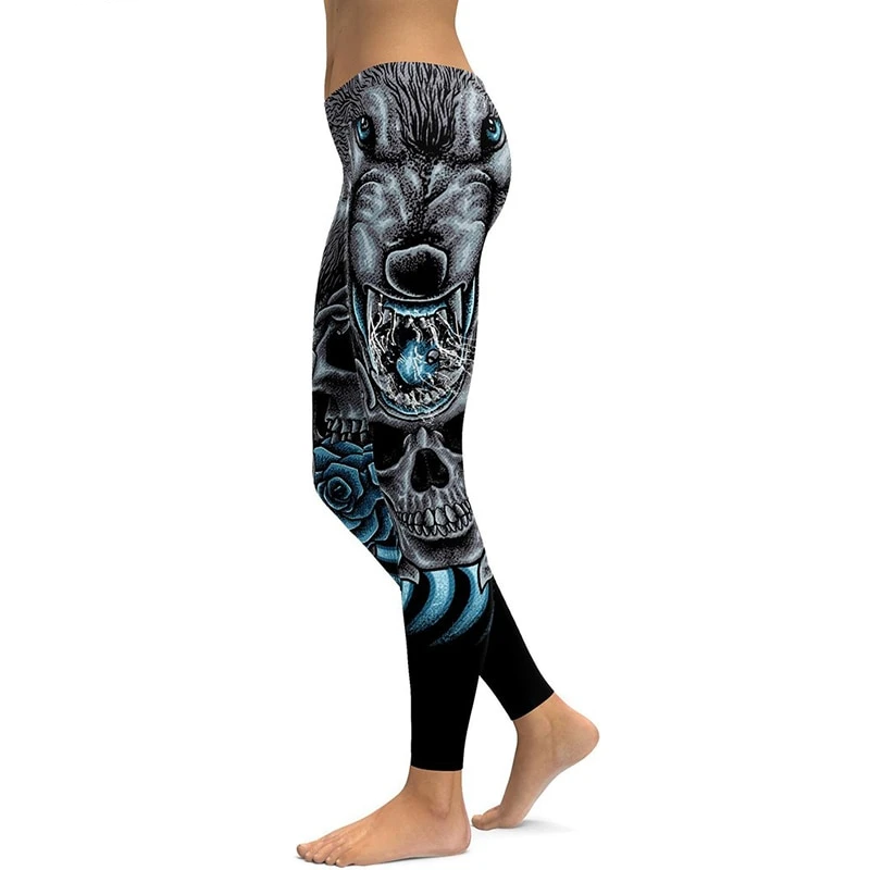 LI FI Mad Wolf Yoga Leggings Yoga Pants Workout Sports Gym Leggings