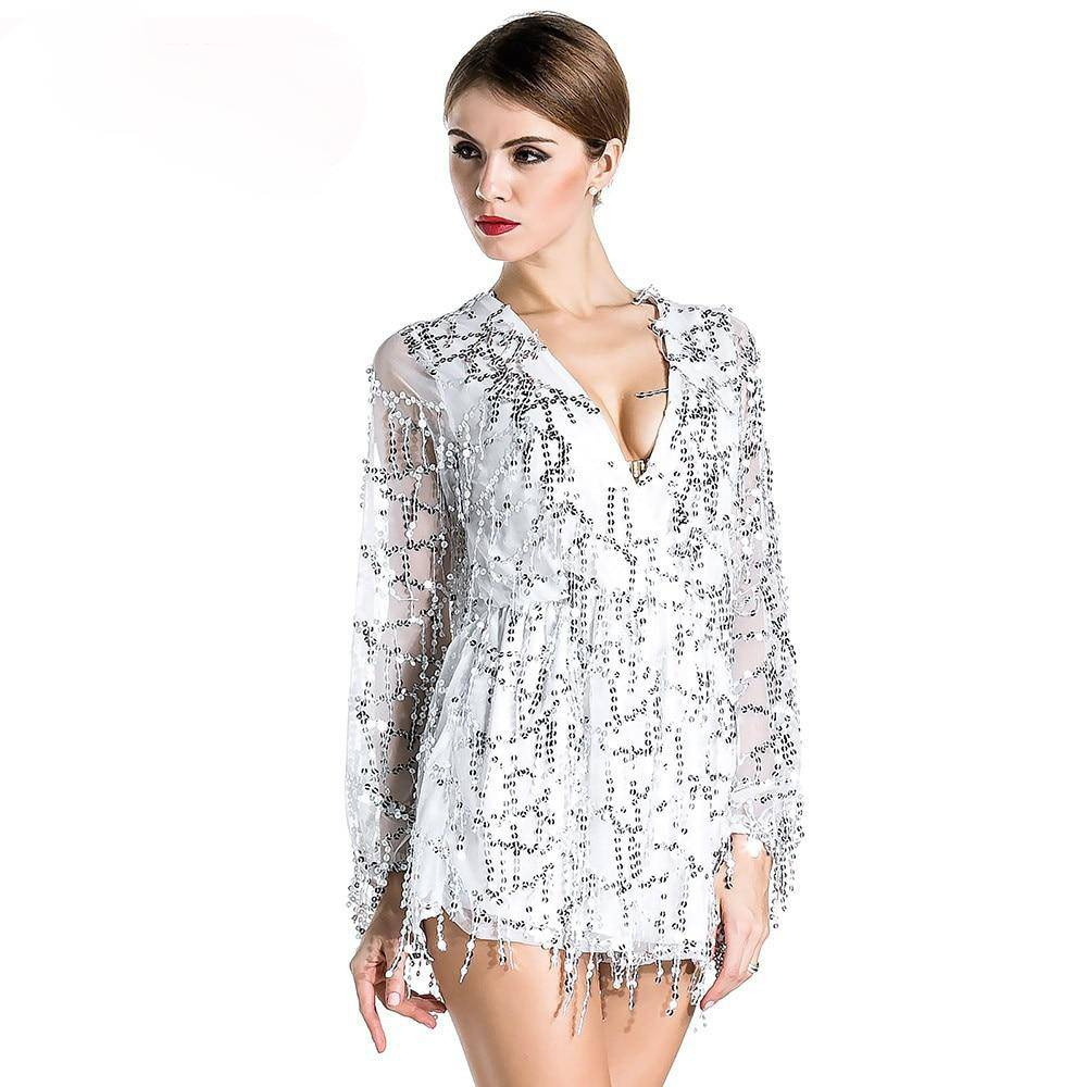 Missord deep v sleeved sequined rompers playsuit FT2800