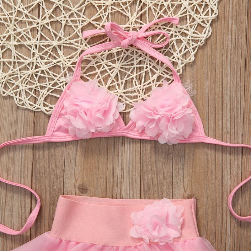 Toddler Kids Baby Girls Summer Solid Print Pink Floral Lace Bikini+Lace Bottom Swimwear Swimsuit Bathing Suit-Bottoms-SheSimplyShops
