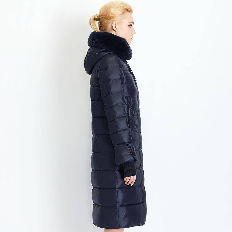 Women Down Coat Jacket Medium Length Woman Down Parka with a Rabbit Fur Winter Coat Women MIEGOFCE Winter Collection