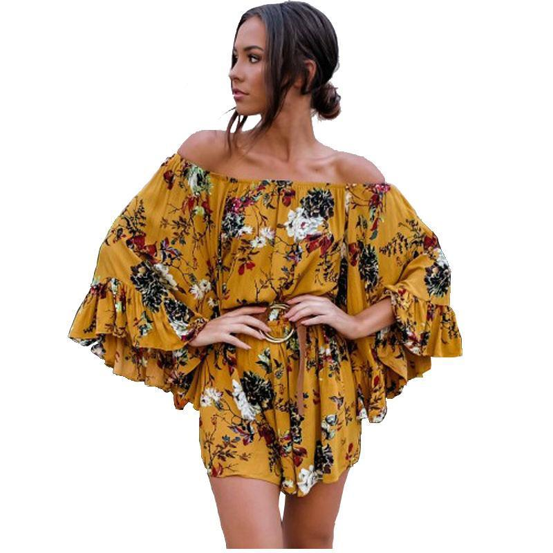 Off Shoulder Long Ruffled Flare Sleeve Floral Print Women Rompers Shorts Jumpsuit Sexy Beach-SheSimplyShops