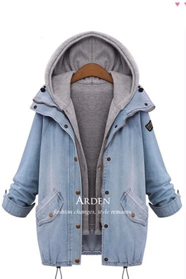 autumn and winter loose thin denim jacket women's jacket hooded denim two piece women fashion O8R2