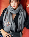 GOPLUS Winter Floral Embroidery Scarf Women Tassal Luxury Thick Warm Shawl Vintage Designer Long Scarves Female Bandanna