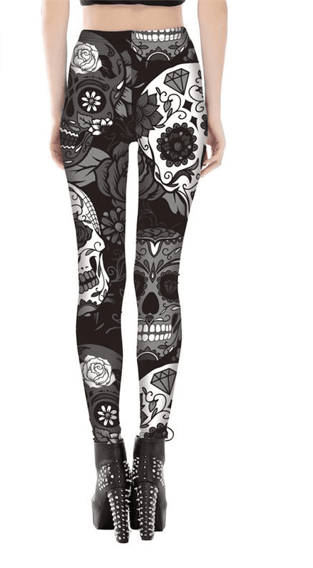 Skeleton Skull Halloween Leggings Yoga Pants High Waist Print Leggings Fitness Women Slim Printed Sports Tight Trousers-ACTIVEWEAR-SheSimplyShops