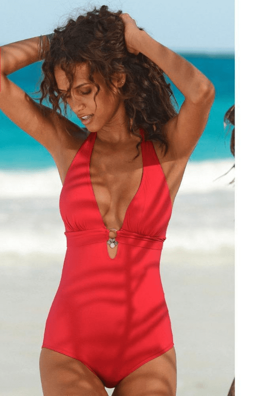 One Piece Swimsuit Women Swimwear Deep V Bodysuit Solid Bath Suit Push Up Beachwear With Accessories-ACCESSORIES-SheSimplyShops