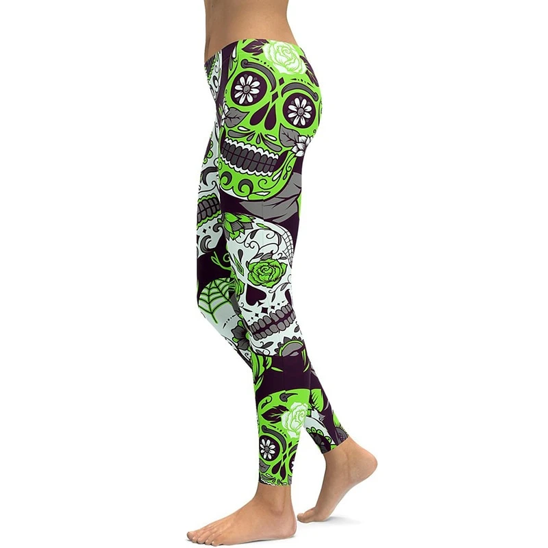 LI FI Green Sugar Skull Yoga Leggings Yoga Pants Workout Sports Gym Leggings