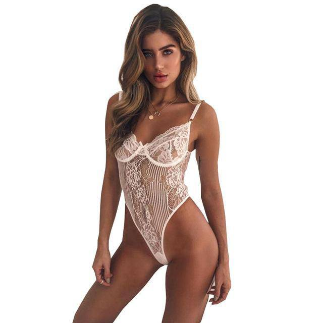 Body Fitness White Lace Bodysuit Rompers Women Jumpsuit Sleeveless Transparent Bodysuit Hollow Out Playsuits